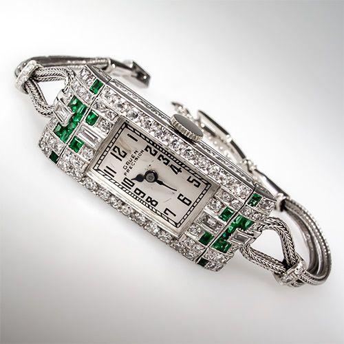 Art Deco 1930's Gruen Precision Emerald Diamond Ladies Watch Platinum Antique | eBay