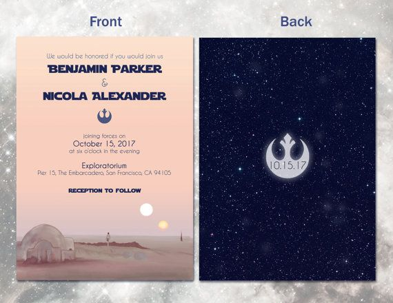 Star Wars Wedding Invitation Set Digital By AwkwardAffections