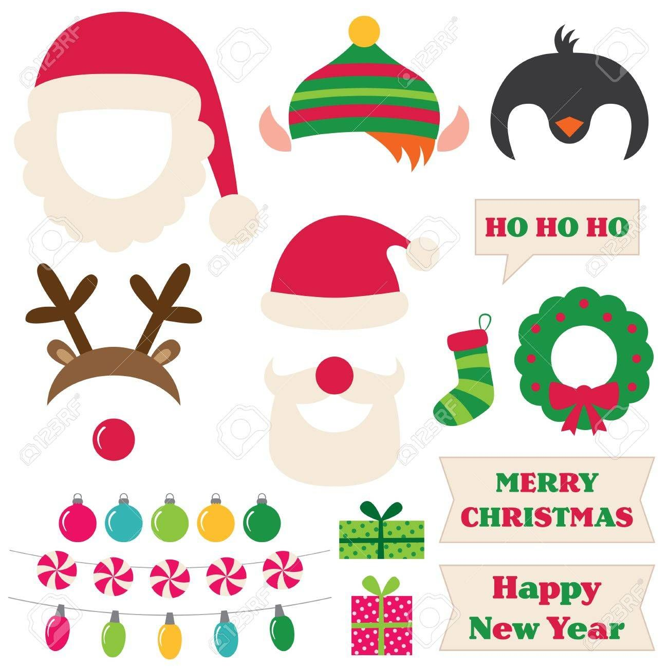 Stock Vector Photo booth props, Elf, Photo booth