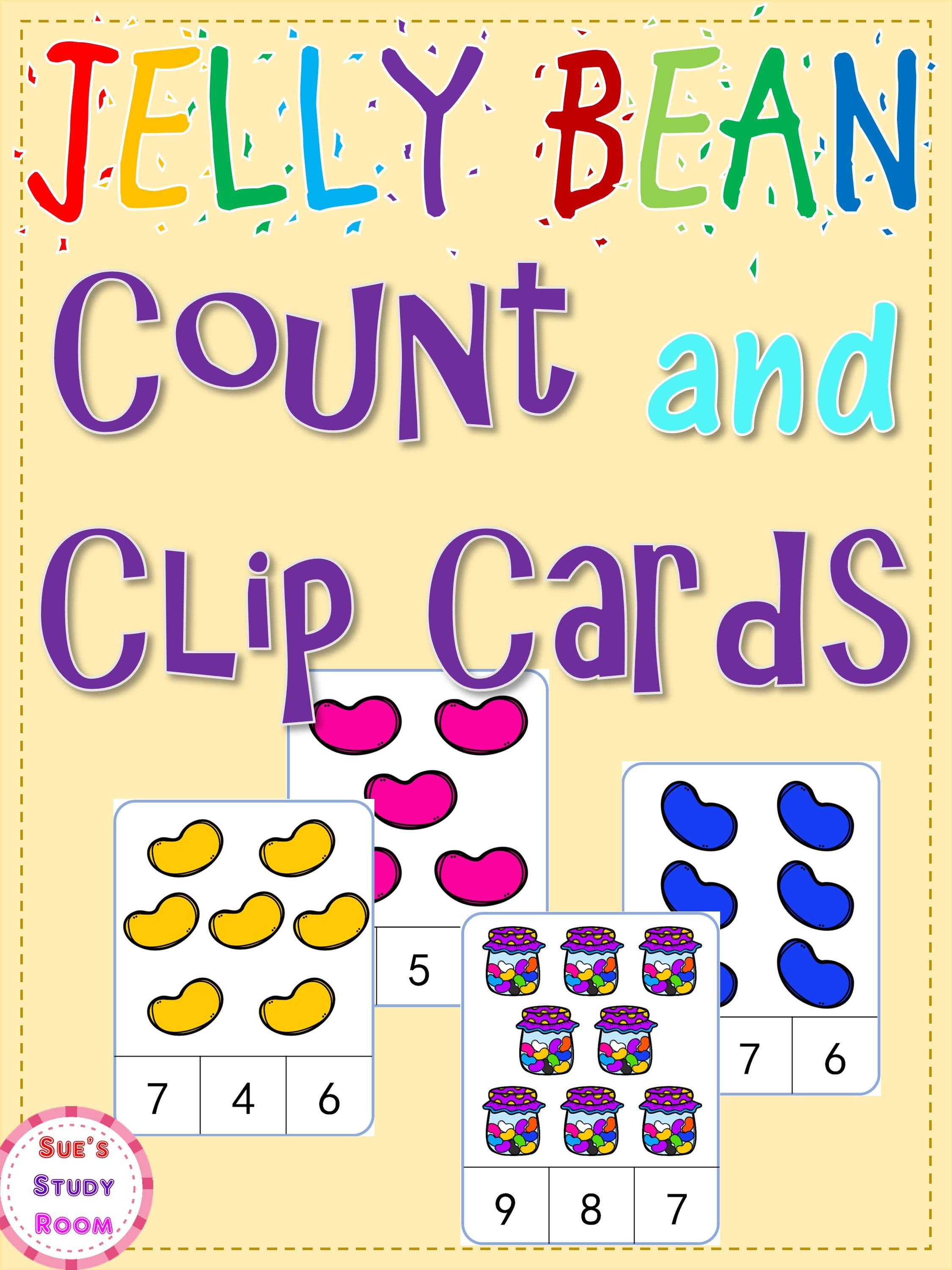 Jelly Bean Count And Clip Cards Numbers 1 20