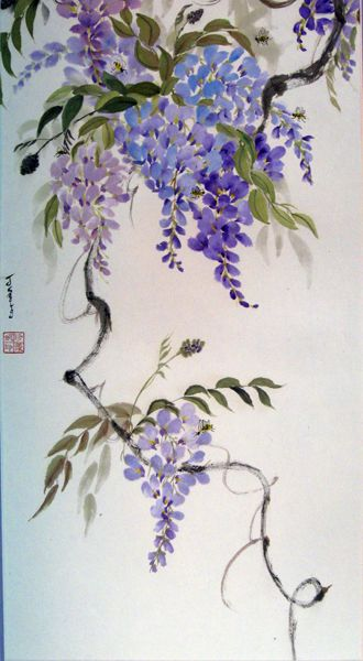 Wisteria Printemps By Jean Seelig National Capital Area Chapter Of The Sumi E Society Of America Flower Art Flower Painting Floral Art