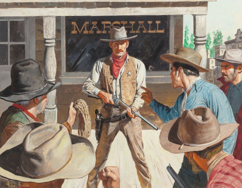Pulp, Pulp-like, Digests, and Paperback Art, JOHN DUILLO (American, b. 1928). Old West Scalphunters, TrueFrontier magazine cover, September 1973. Gouache on board. ... Image #1