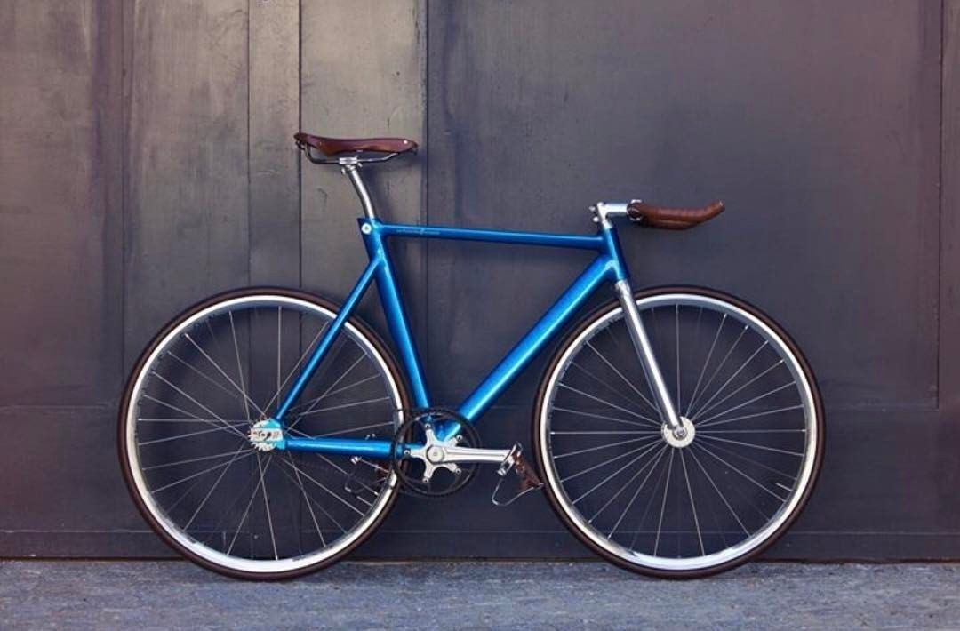 Electric Blue Fixie W Brown Leather Seat Handlebars