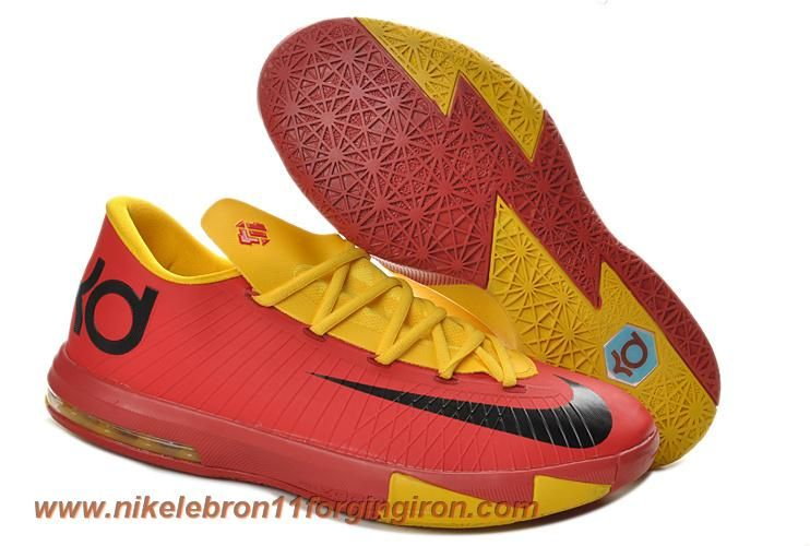 innovative design 90e00 4b38a Cheap 599424-112 Nike Zoom KD 6 Low Red Yellow Kevin Durant Shoes