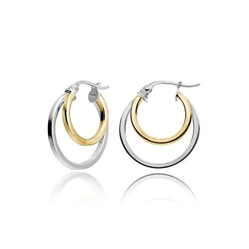 629ade8db Hoops Loops Yellow Gold Flash Sterling Silver TwoTone Double Circle  RoundTube Polished Hoop Earrings 15mm * See this great product.