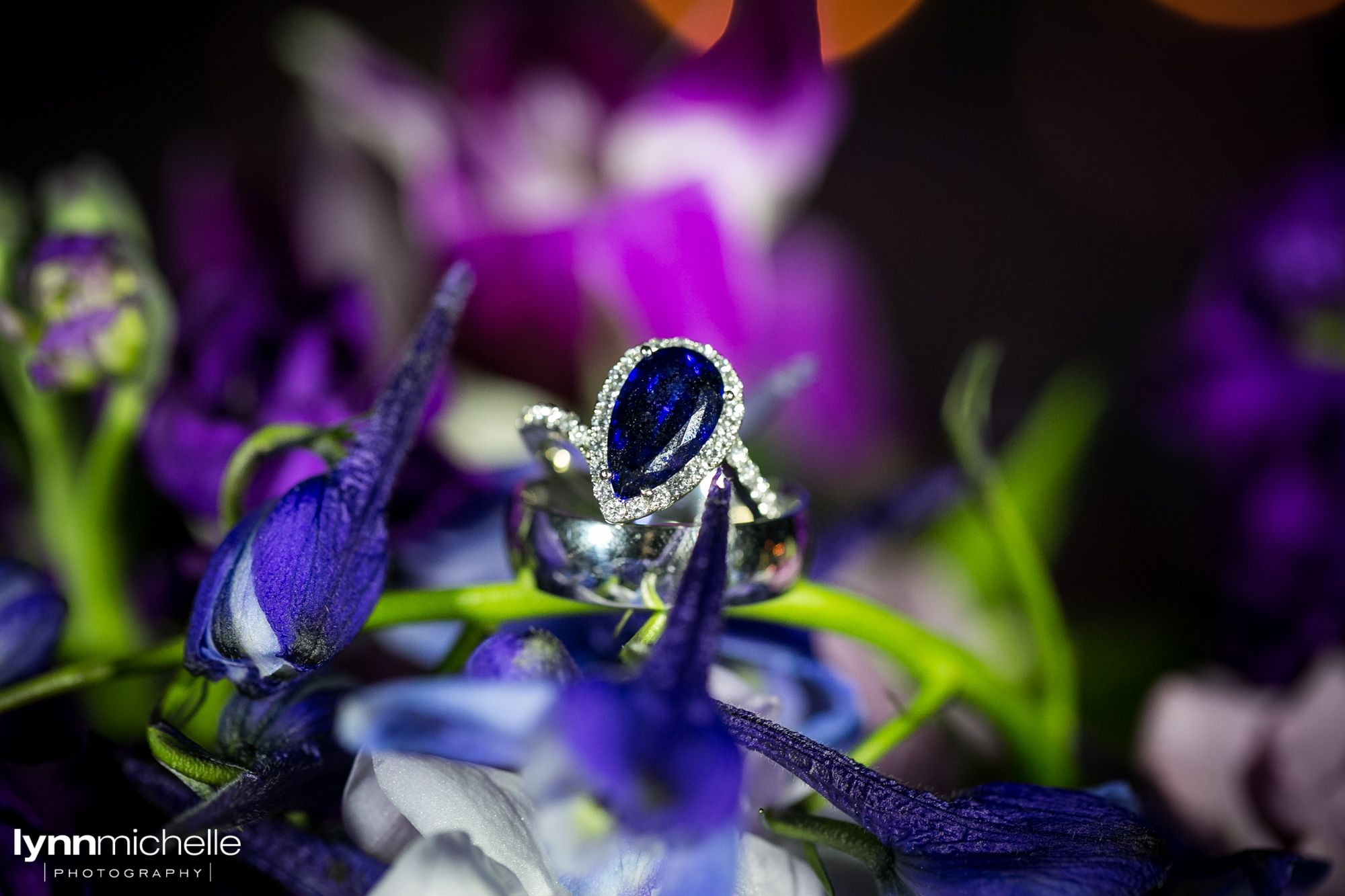 White gold and sapphire tear drop wedding ring. #ringshot  Photo by @lynnmichelle
