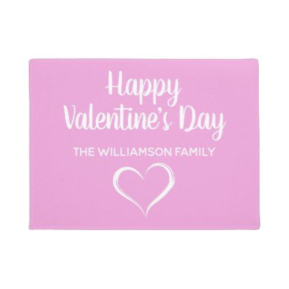 Pink and White Personalized Happy Valentines Day Doormat | Door mat