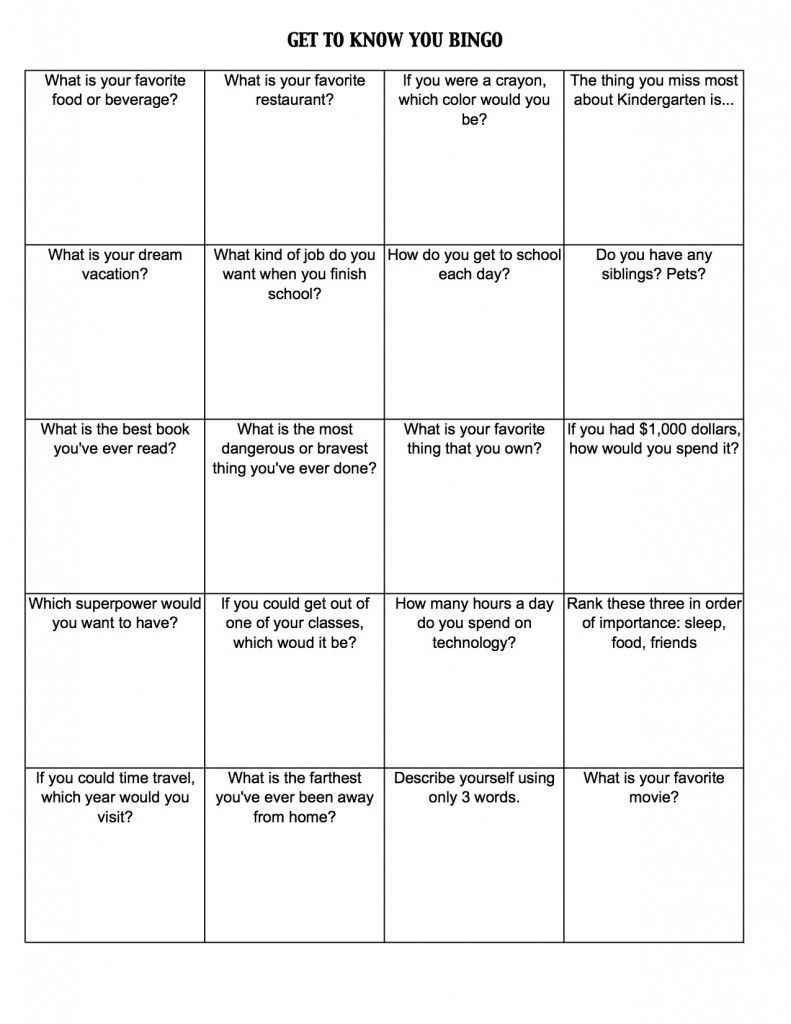 Free First Day ActivitiesGames  Get To Know You Bingo