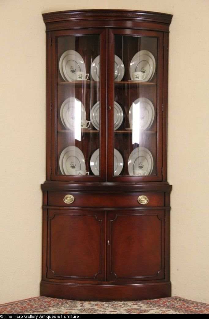 Drexel Travis Court Mahogany 1950 S Vintage Curved Glass