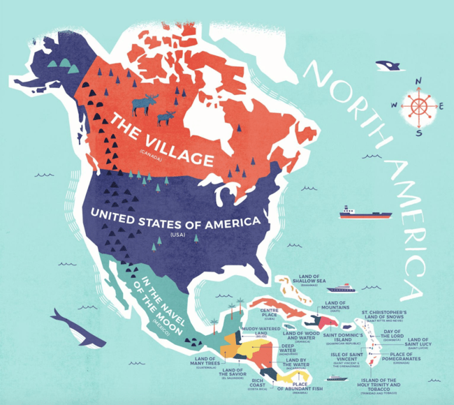 Countries Map Of North America.This Incredible Map Shows The Literal Meaning Of Every Country S