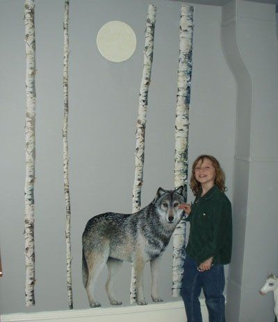 Life Size Wolf And Birch Tree Wall Decals Part 50