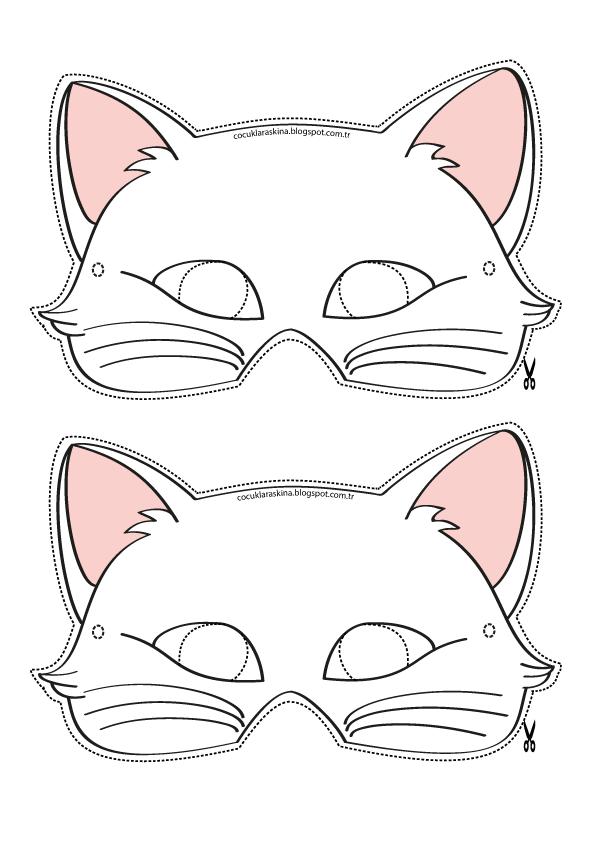 Kedi Maske Boyama Sayfasi Ve Parti Suslemeleri Goruntuler Ile