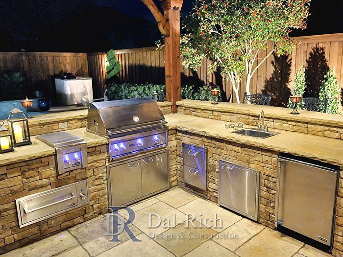 Dallas Landscape Architects Outdoor Kitchens Fireplaces Dallas Mckinney Richardson Decks Stamped Outdoor Kitchen Outdoor Kitchen Design Backyard Kitchen