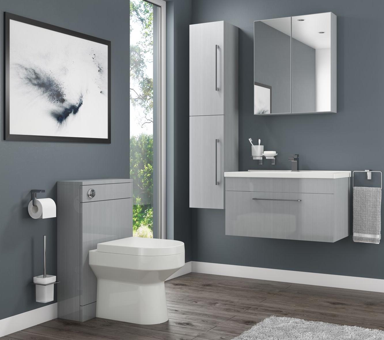 Moderno Grey Bathroom Collection Vanity Basin Unit Toilet Unit Bathroom Storage Cabinet Wal Freestanding Bathroom Furniture Bathroom Collections Furniture