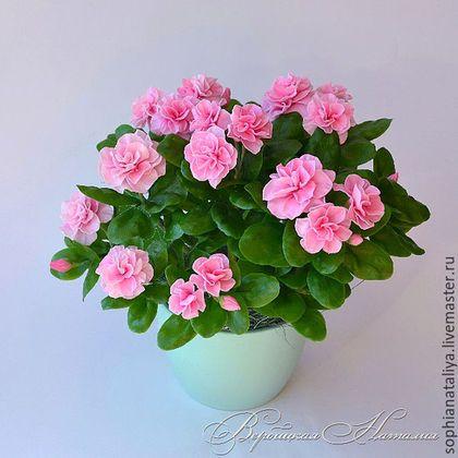 Цветы ручной работы. Ярмарка Мастеров - ручная работа. Купить Азалия комнатная розовая. Полимерная глина(холодный фарфор). Handmade. Азалия