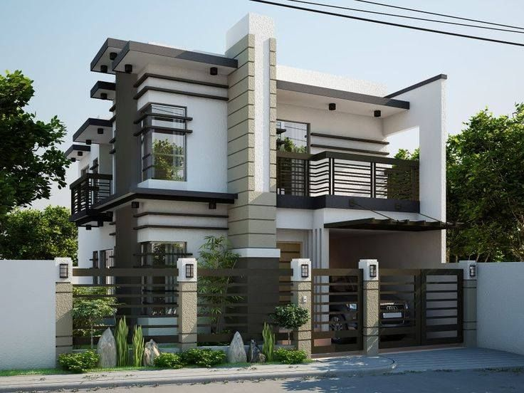 . Single Car Parking with Cut Style Exterior Design for Separate Home