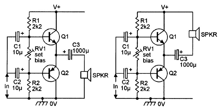 Alternative versions of the class-AB amplifier with a