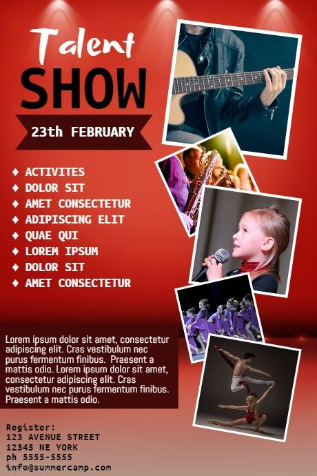 Talent Show Flyer Template Postermywall Event Poster Templates