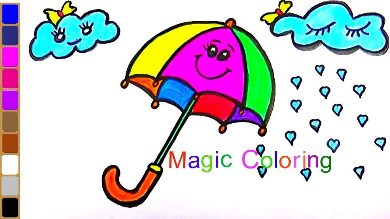 How To Draw An Umbrella For Kids Rainbow Umbrella Coloring Page Umbrella Coloring Page Rainbow Kids Coloring Books