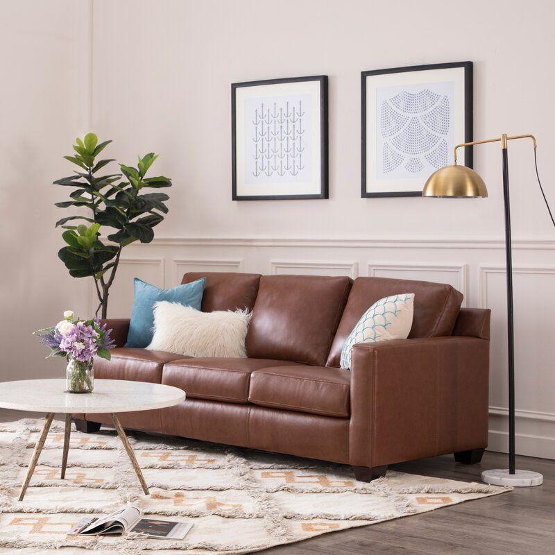 Buckhead Genuine Leather 83 5 Square Arm Sofa Leather Sofa Sofa Furniture