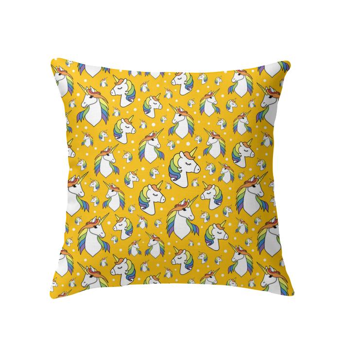 Unicorn emoji animal yellow throw pillow pets Unicorn