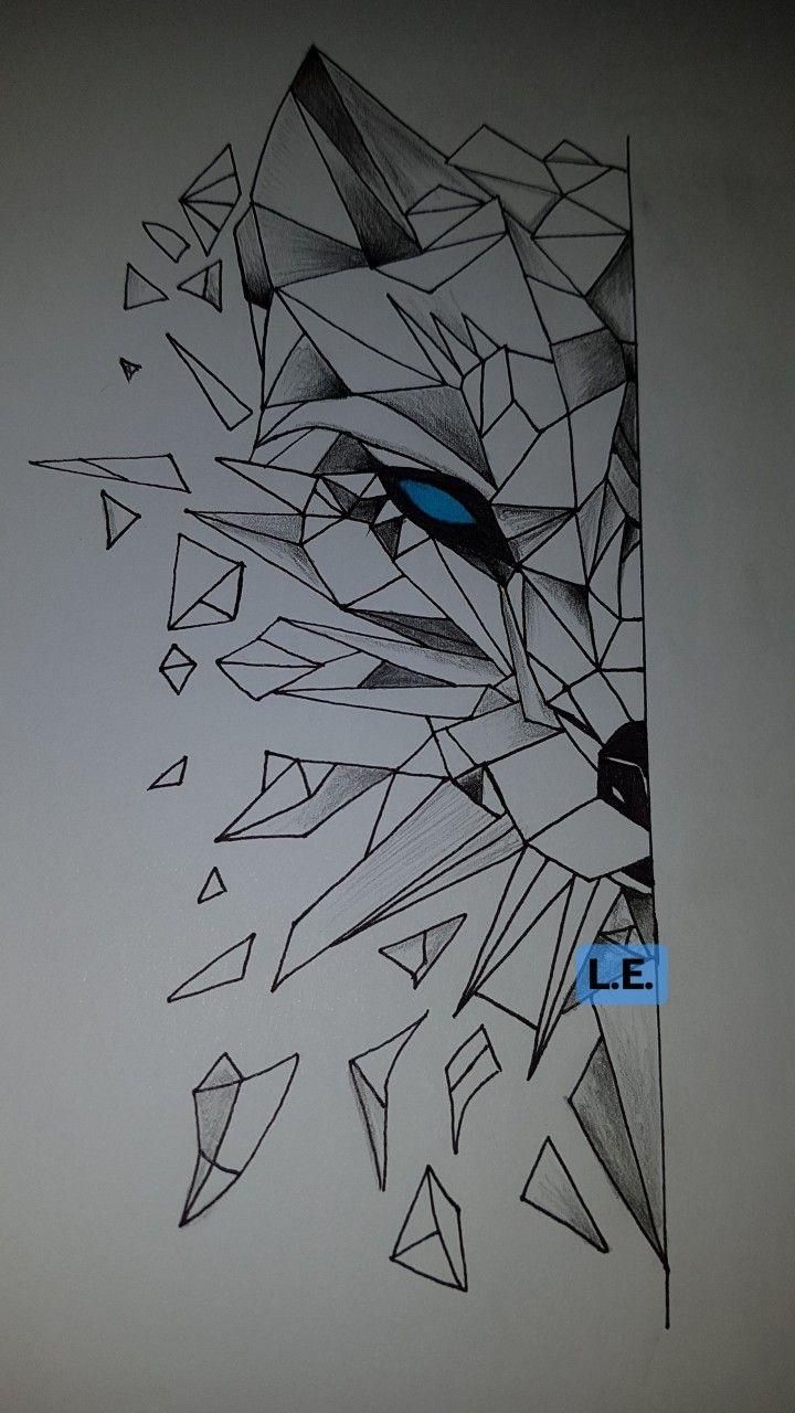 Latest Stuff Of Mine 3d Wolf Drawing Geometric Drawing Geometric Wolf Geometric Wolf Tattoo