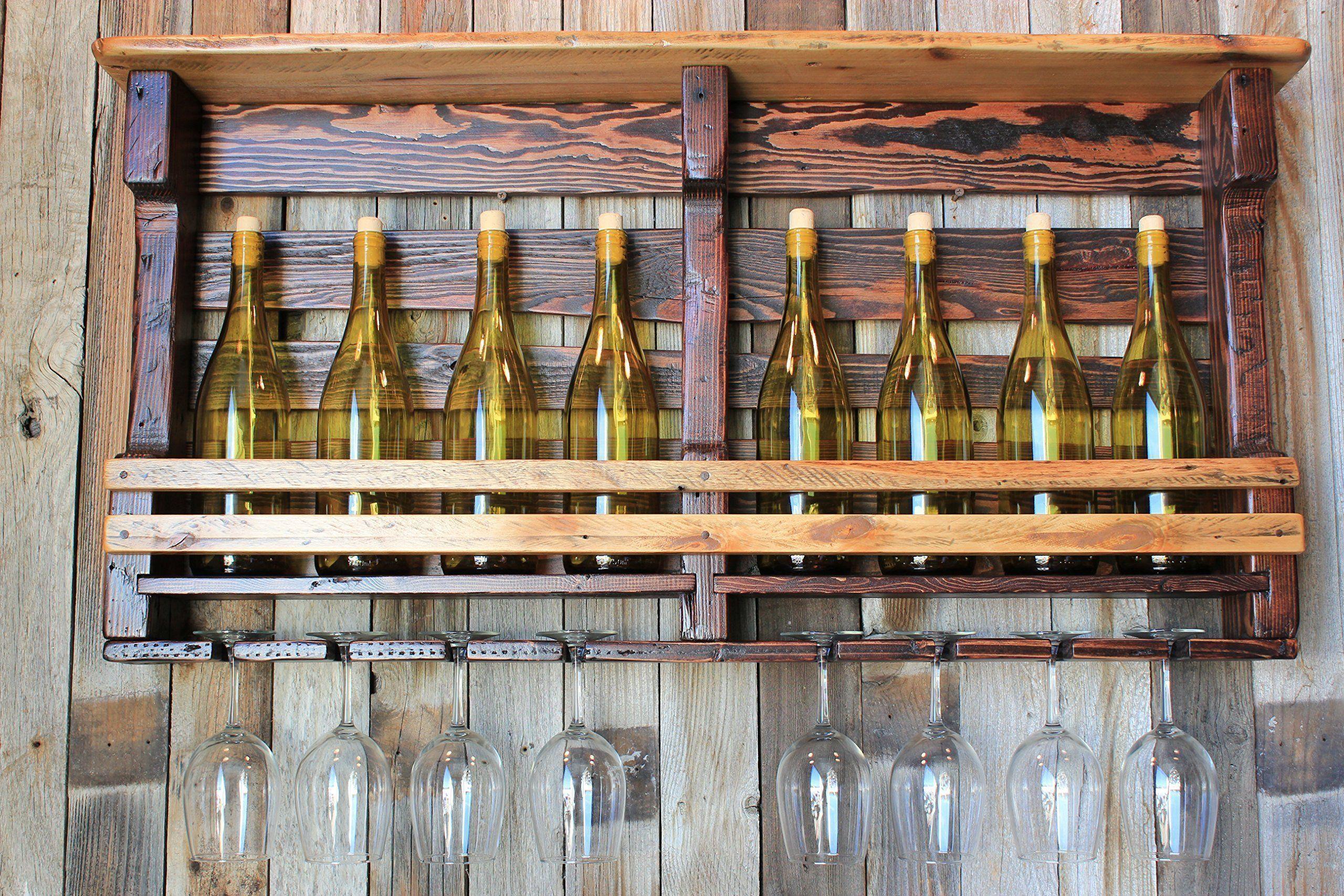 Rundown rustics wine rack storage shelf organizer display décor