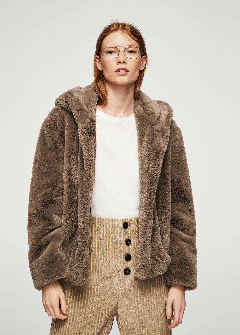 1d702732f2 Faux fur hooded coat - Woman in 2019