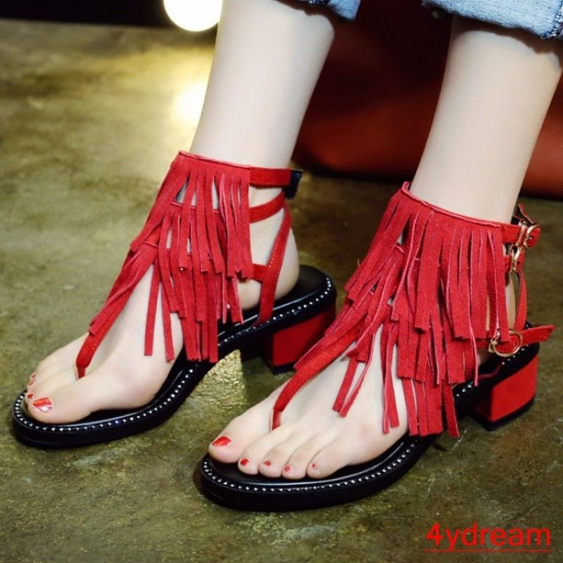 16ce8437667a1 Women Low Heel Flip Flop Back Buckle Sandal SHoes Tassel Fringe Retro Ankle  Boot  fashion  clothing  shoes  accessories  womensshoes  sandals (ebay  link)