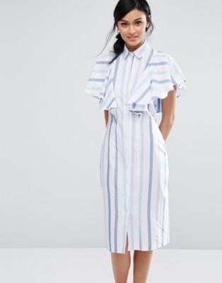 b7cf4c5ffaa Closet London - Robe chemise à rayures avec plastron volanté