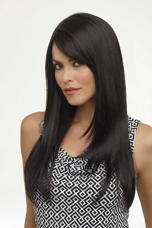 Side Bangs Black Hair Jpg 500 750 Pixels Long Black Hair Black