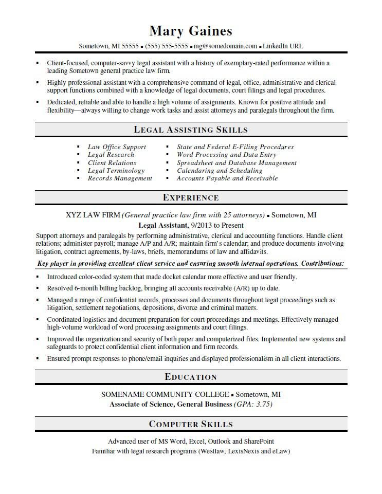 Legal Assistant Resume Sample Resume Template Word Resume Template Cv Template