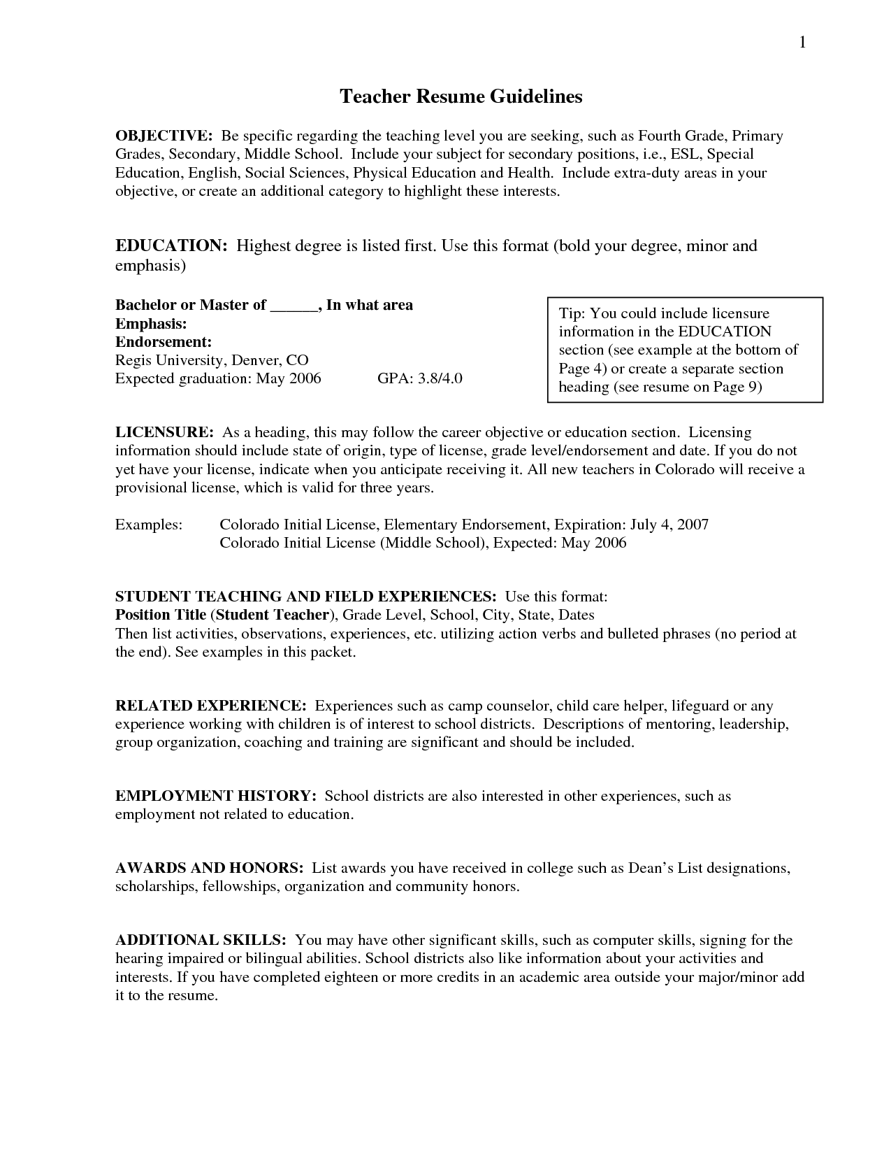 Resume Employment History Resume Objective Statement For Teacher  Httpwwwresumecareer