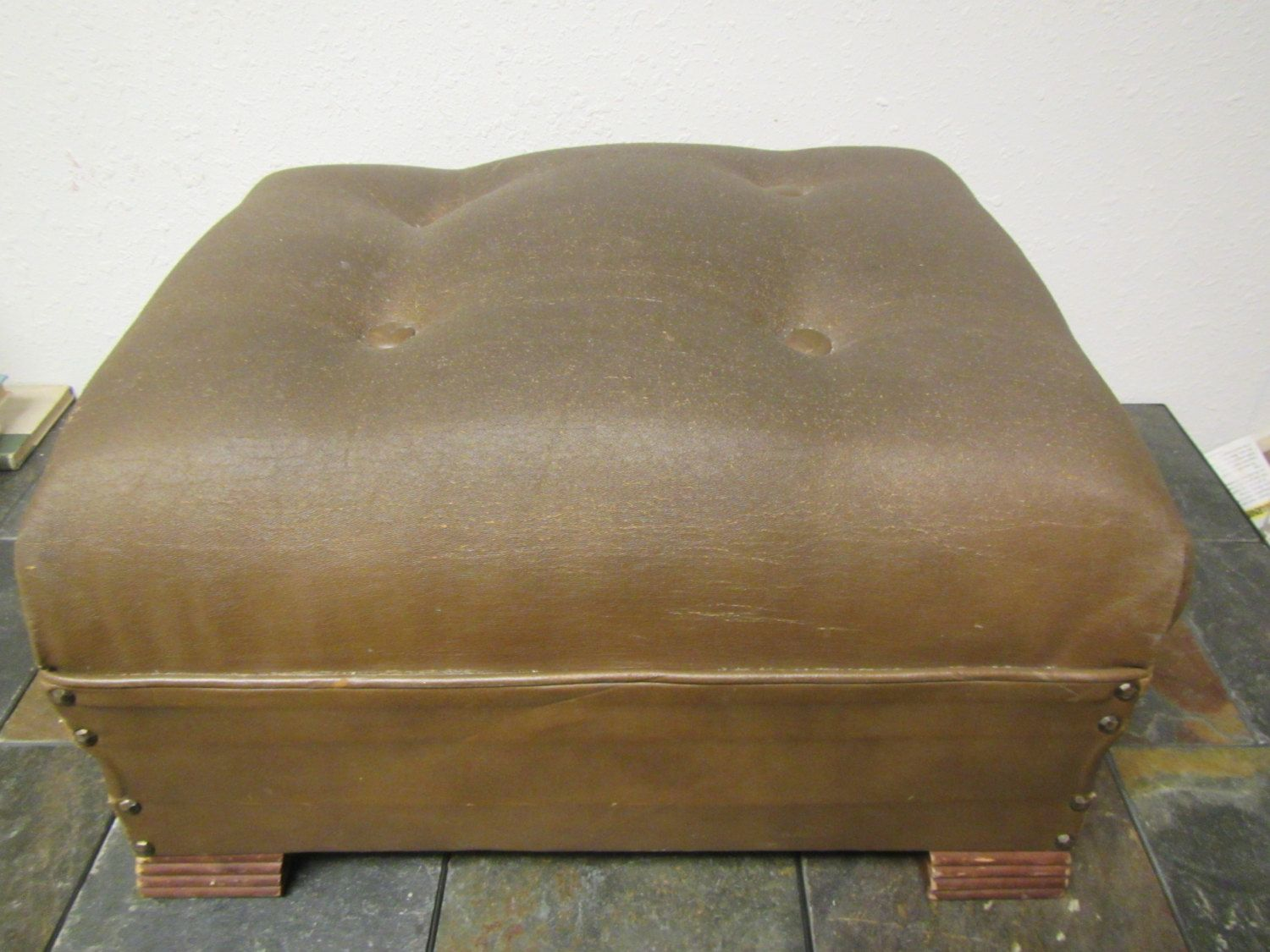 Vintage Leather Ottoman Hassock Foot Stool Leather Covered Brown Footstool With 4 Covered Buttons On Top Vintage Leather Leather Ottoman Leather Cover