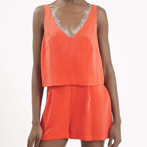 Topshop Lace Front Romper Brand new with tags! Sold out in stores. Reasonable offers only through offer button.  No trades. Topshop Dresses