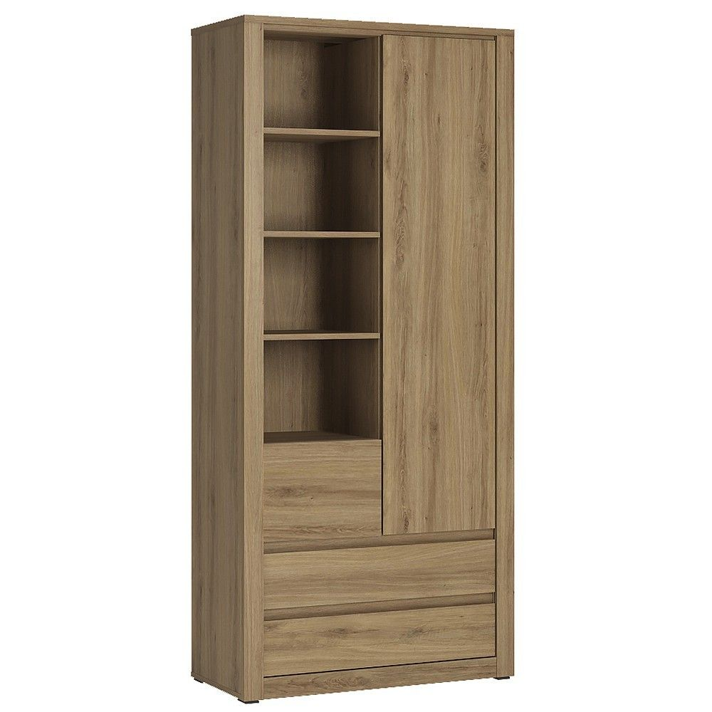 Hobby 1 Door 3 Drawer Tall Cabinet With Open Shelving In