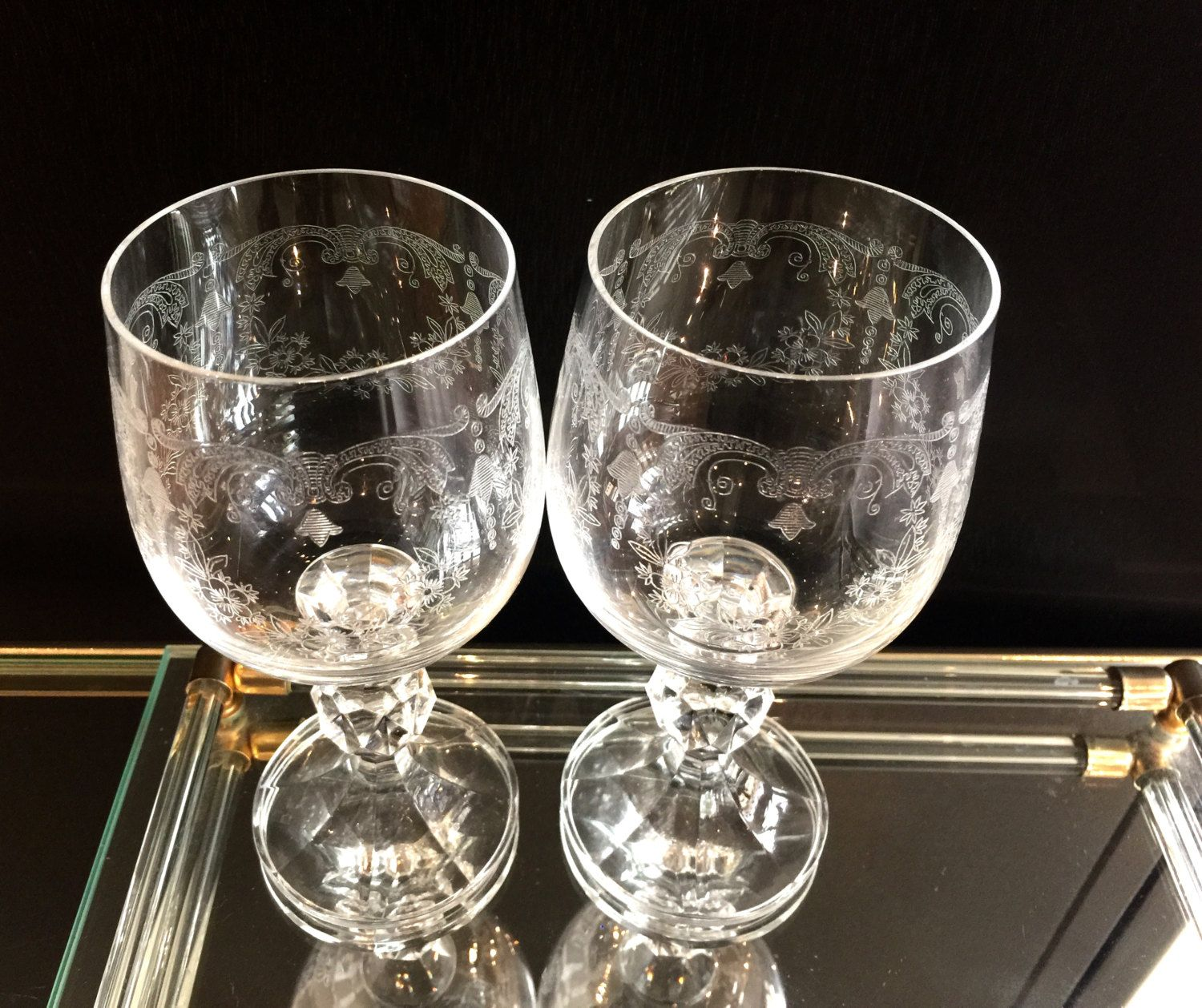 Small Stem Wine Glasses Vintage Bohemia Crystal Cascade Bell Etched Crystal