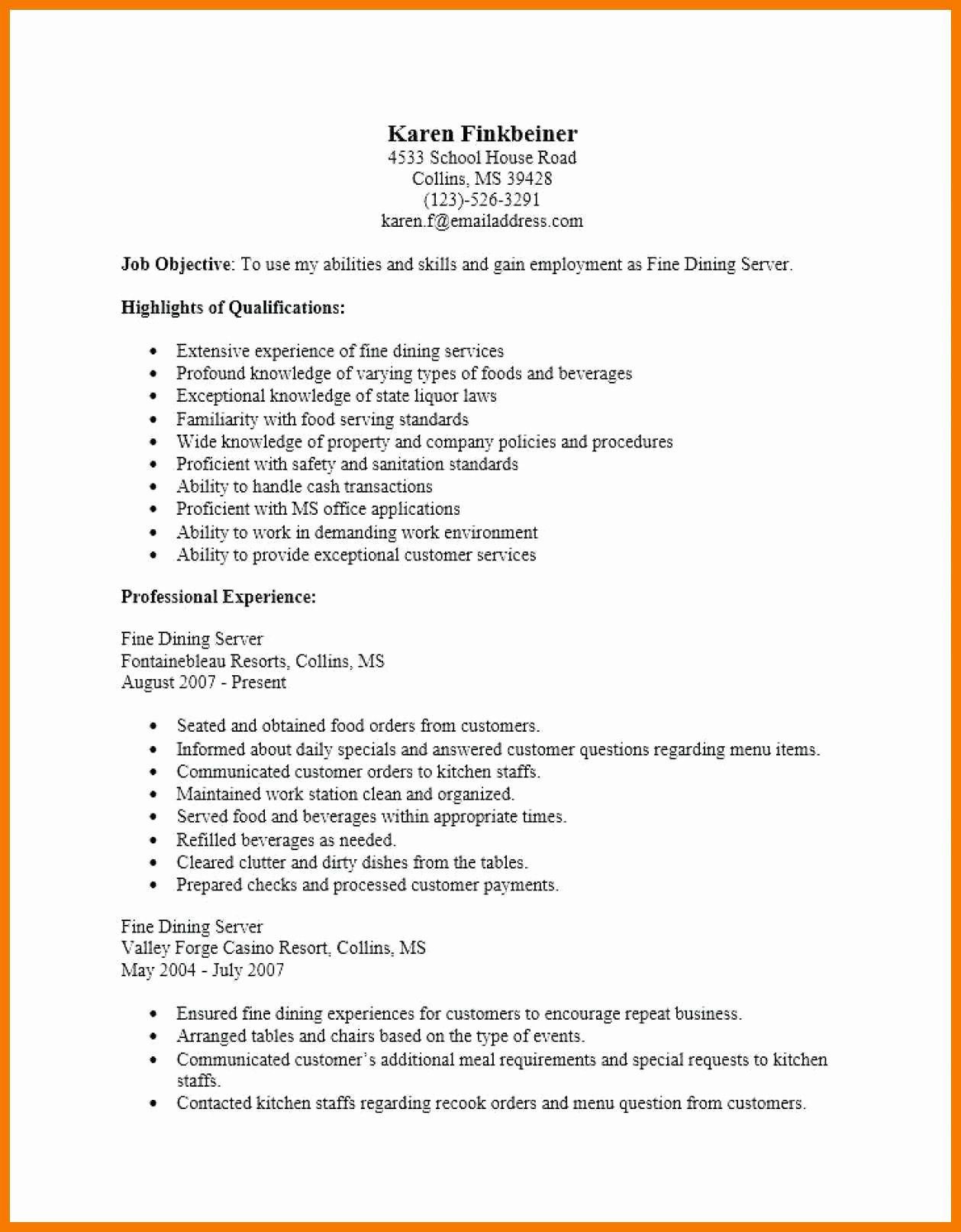 Fine Dining Server Resume Best Of 10 11 Cover Letter For Dining Services