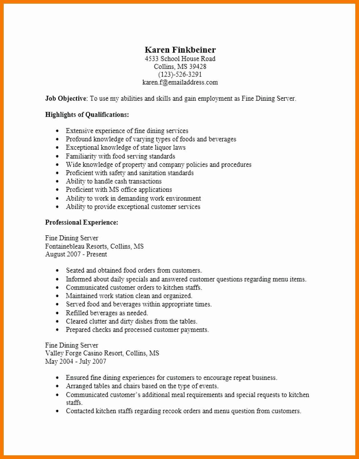 25 Fine Dining Server Resume (With images) Server resume
