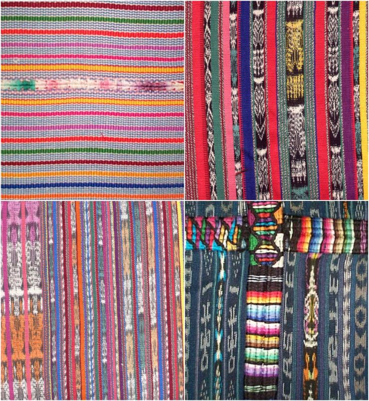 Textiles de Guatemala , estos son hechos      en telar industrial y se ve unidos 2 lienzos  ( los azules ) con una puntada que se llama RANDA
