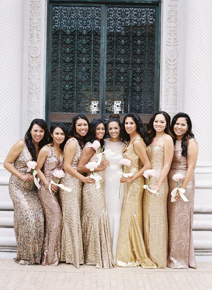 sparkly gold bridesmaid dresses for new years eve wedding or night time wedding
