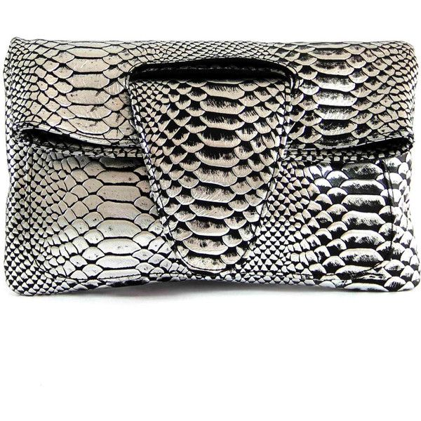 Roque Bags Ana Clutch Snake print Silver