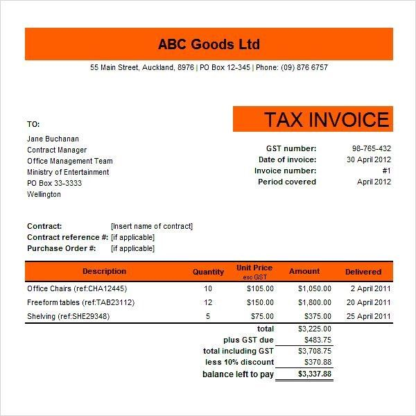 Download Tax Invoice Template Ato invoice Pinterest Template - examples of tax invoices