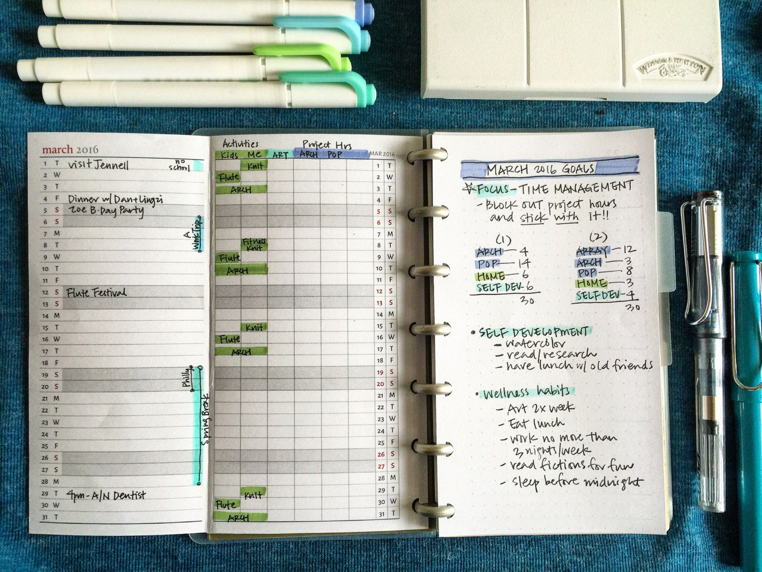 Vertical Monthly Calendar Tracker  Personal Size By Pencilorpen