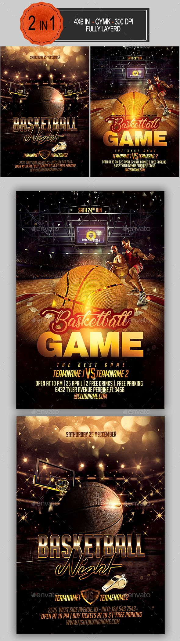 Basketball Flyer Bundle | Flyer template, Template and Fonts