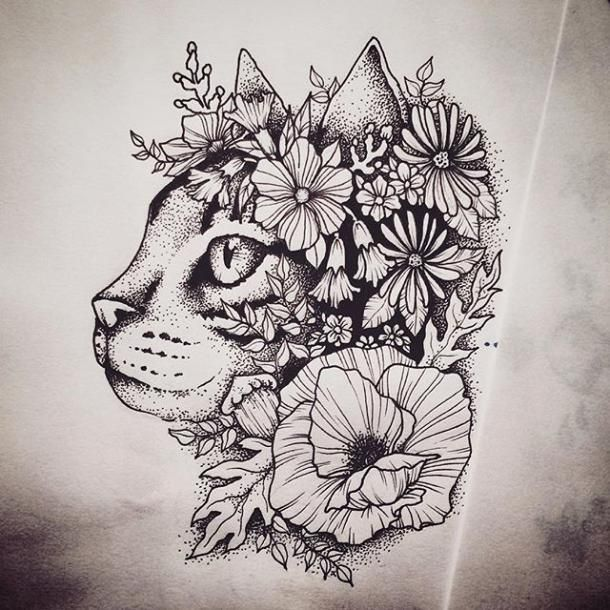 Beautiful Cat Covered With Flowers Tattoo Design Color Black Tags Best Beautiful Cat Tattoo Designs Cat Tattoo Feather Tattoos