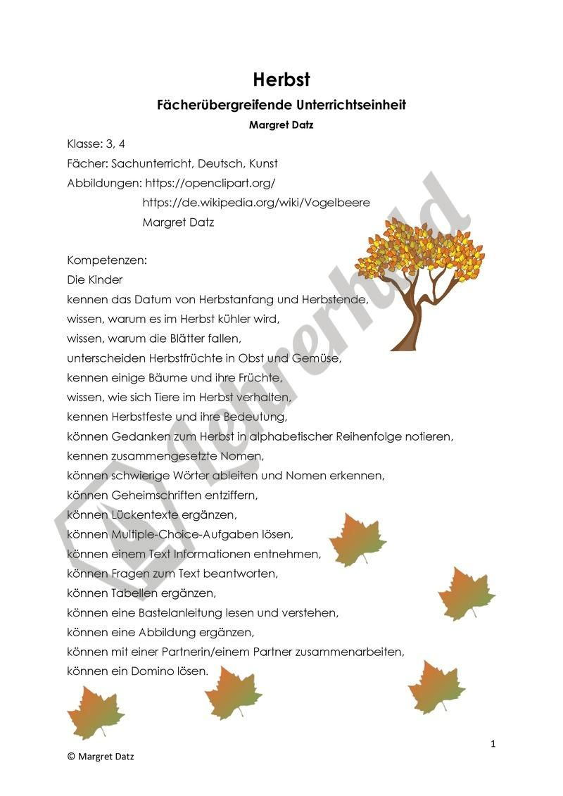 Unterrichtseinheit Zum Thema Herbst Unterrichtseinheiten