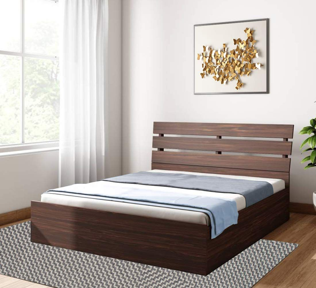 Queen Size Solid Wood Bed With Box Storage Matte Finish Wenge