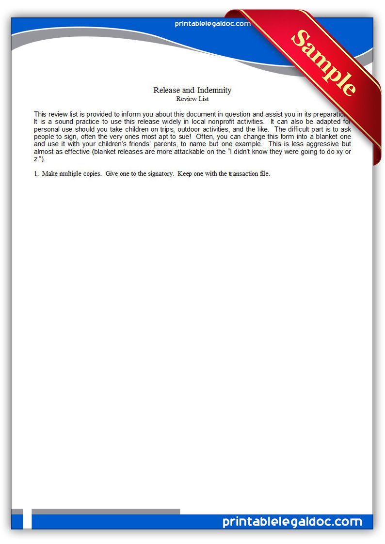 Indemnity Forms Free Printable Release And Indemnity Legal Forms  Free Legal Forms .