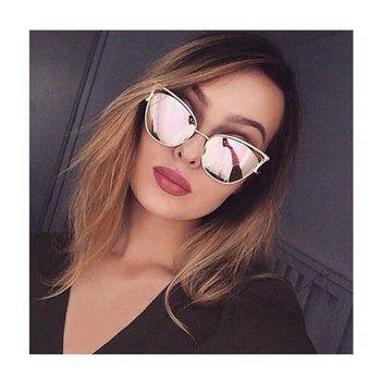 ec82321a5b5 SojoS Fashion Cat Eye Style Metal Frame Women Sunglasses Lady Sun Glasses  With Gold Frame Pink Revo Lens
